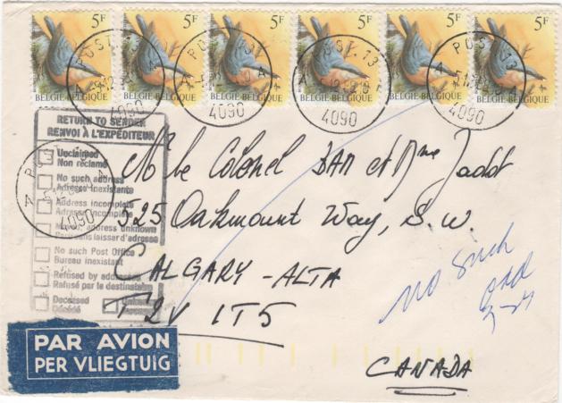 """Feldpostsendung nach Calgary, am 5.12.1988 als Luftpostbrief verschickt. Frankiert mit 30 Fr zu 6 Marken """"Kleiber"""" (Sitta europaea)."""