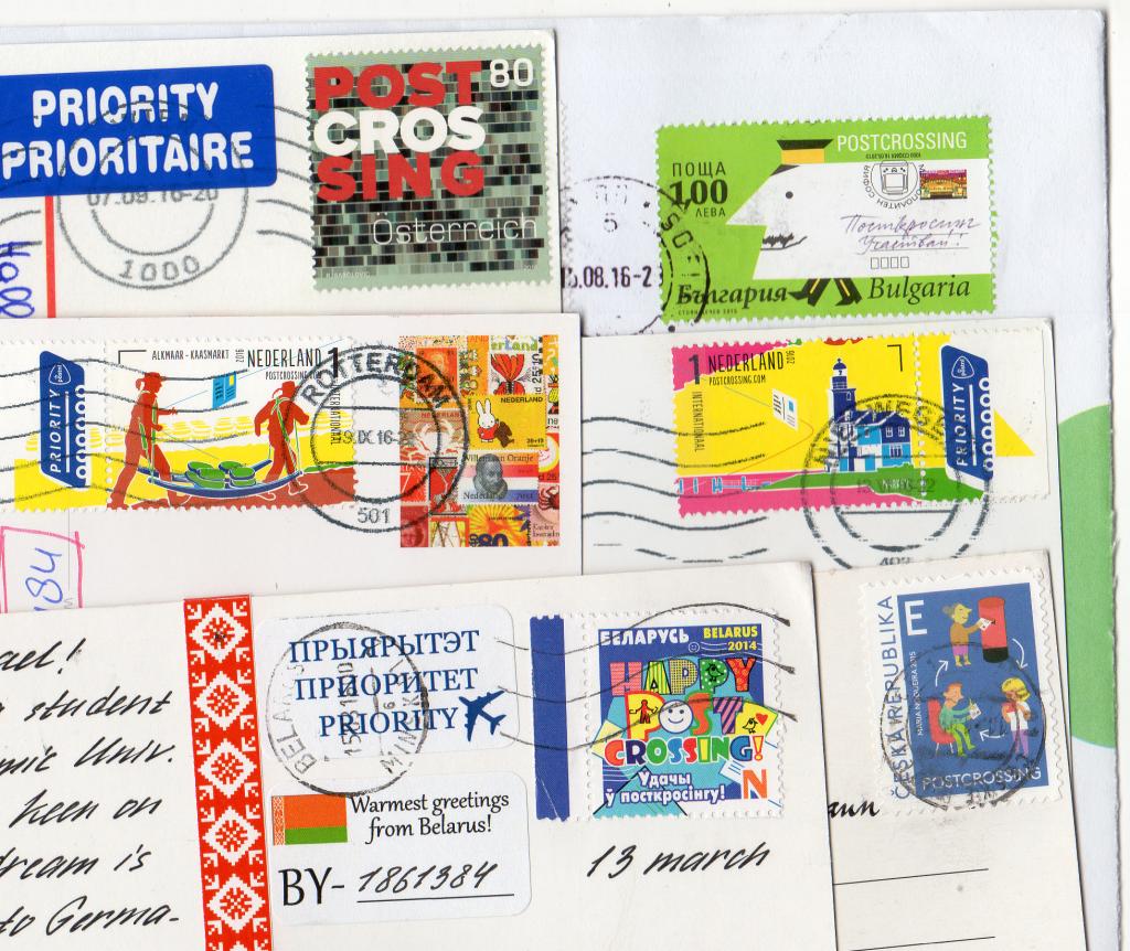 """Sonderausgaben """"Happy Postcrossing"""" Österreich, Bulgarien, 2 x Niederlande, Weißrussland, Tschechien"""