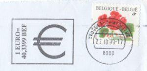 Werbestempeleinsatz mit dem Umrechnungskurs zwischen Euro und Belgischen Franc